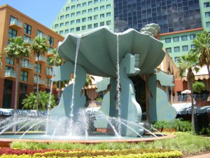 Fountain outside the Dolphin hotel